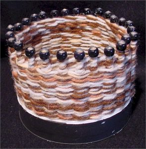 bown basket with beads