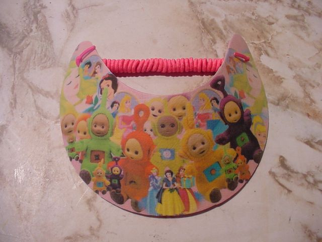 teletubbies collage printed on fabric with plastic cover