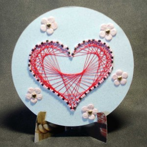 paper embroidery and beads heart