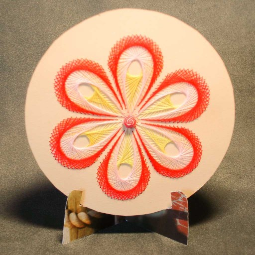 multi-color paper embroidery flower