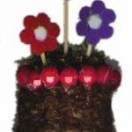 fun foam flowers in a woven basket