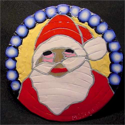Polymer Clay painted Santa on CD
