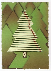 Paper Embroidery Christmas Tree with Beads to one side