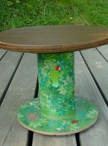 table made from industrial wire spool