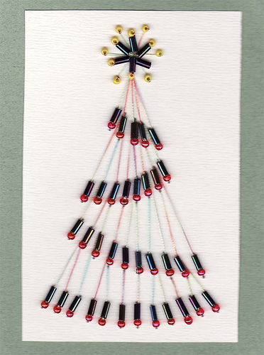 xmas tree paper embroidery