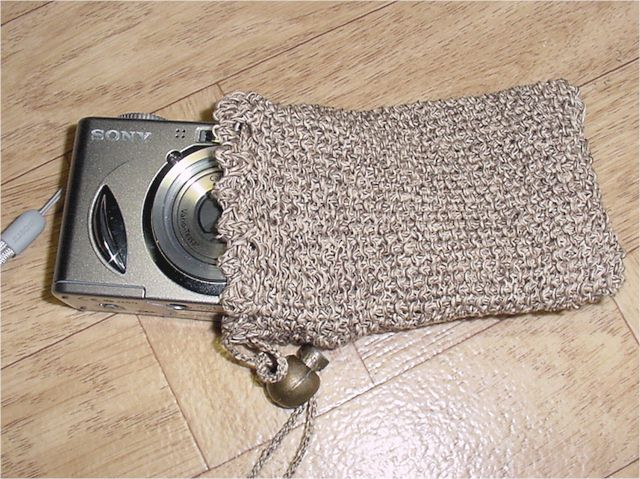 Knitted Camera Case with Sewing Threads