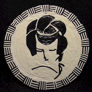 Polymer Clay Painting on CD - Geisha