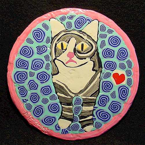 Painting With Polymer Clay On CD – Cat