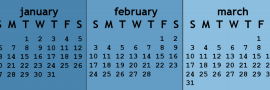 1-inch high horizontal monitor calendar
