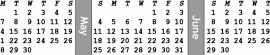 1/2-inch bw high horizontal monitor calendar