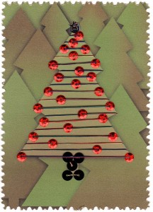Paper Embroidery Christmas Tree with Red Sequins
