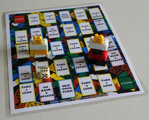 Homemade Lego Game Board laminated