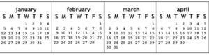 large horizontal monitor calendar