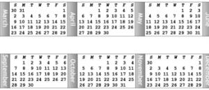 small horizontal monitor calendar