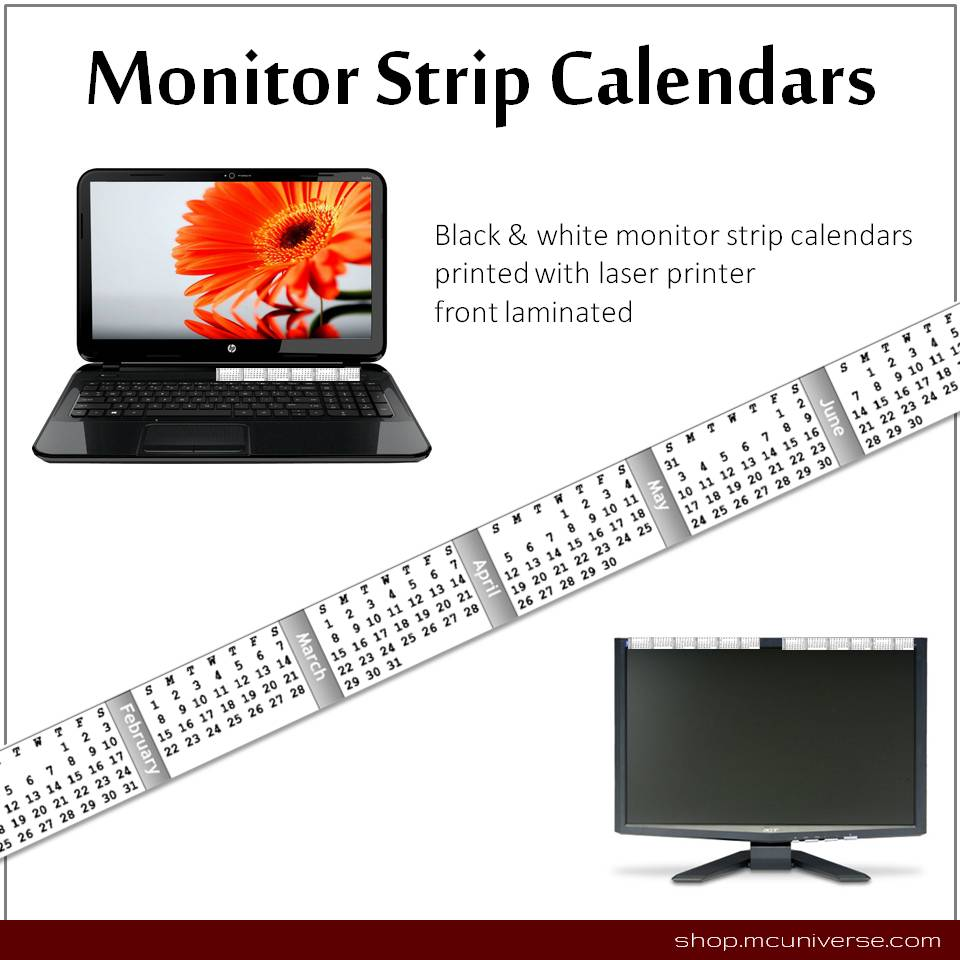 FREE Printable Monitor Strip Calendars