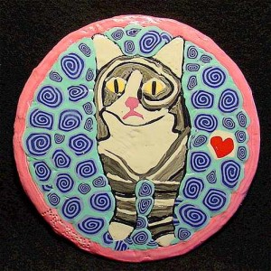 Polymer Clay Painting on CD - Phoenix the cat