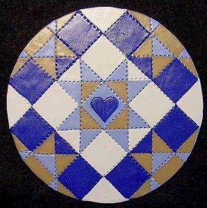 Painting with polymer clay on CD - Quilt 2