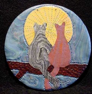 Painting with polymer clay on CDs - 2 cats
