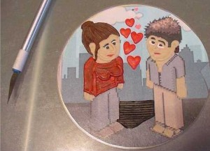 Polymer Clay Painting on CD - Valentine 1