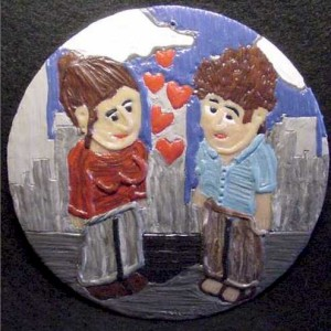 Polymer Clay Painting on CD - Valentine 2