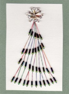Paper Embroidery - Christmas Tree Card with beads