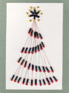 Paper Embroidery - Christmas Tree Card with beads 2